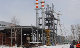 Блок двух самонесущих дымовых труб колонного типа